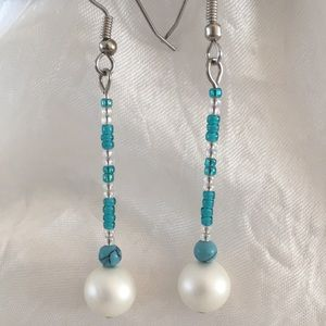 Hand Crafted Beaded Turquoise Drop Pearl Earrings